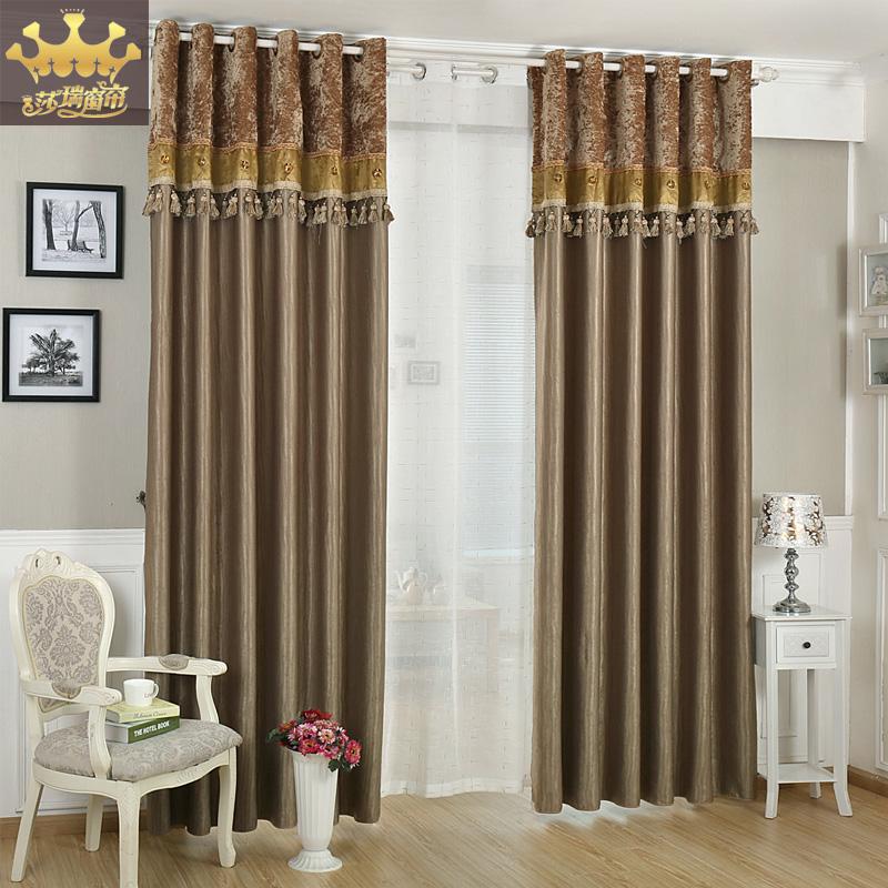 Moda projetado cortinas sala de estar Valance Blackout listrado mistura de cor sólida cortinas de cetim(China (Mainland))
