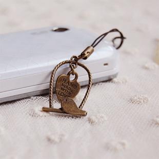 12pcs/lot Vintage Brass Bird Ear Jack Cap Anti Dust Plugs for Phones Valentine Jewelry fcs007(China (Mainland))