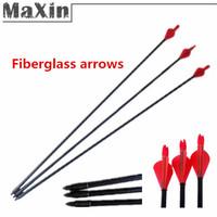 "New Hunting 12pcs Archery Hunter Nocks Fletched Arrows Fiberglass Target Practice 80cm 31"" Glass Fiber Arrow"