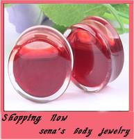New arrival fashion Red blood liquid ear flesh tunnel  free shipping mix 6~16mm 60pcs/lot acrylic ear plug body jewlery