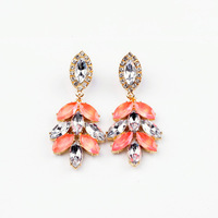 2014 New Style Luxury Statement  Colorful Crystal leaves Dangle Earrings Women Fashion Big Brand Earring Jewelry Accessories
