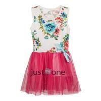 Girl Floral Rose Printed Sleeveless Net Dance Dresses Tutu Dresses Skirts 1--4Y