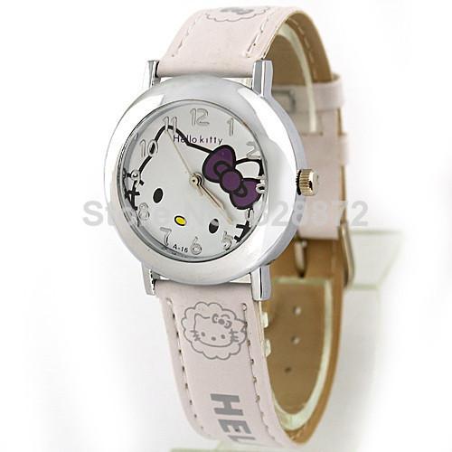 Promotion! 2014 New Arrival White Fashion Hello Kitty Women's Ladies Girls Students Kids Quartz Wrist Watch, Free Shipping, KT26(China (Mainland))