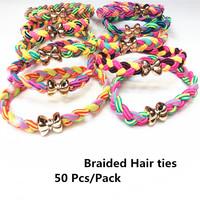 50 Pcs/ Lot New Fashion Braided Super Stretch Hair ties/ Elastic Hair Bands Women Hair Accessories