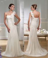 Beautifully 2015 One-Shoulder Hand-Made Flower Ruched bodice and Sheath Chiffon Skirt Sweep/Brush Train Wedding Bridal Dresses