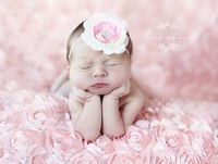 3D Faux Fur Fabric BABY GIRL PHOTOS IN BROWN ROMPER ROSETTE BACKDROP Newborn Photography Props Blanket Pink Blanket for Babies