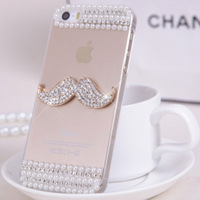 New arrival Wholesale Rhinestone Case cover For iPhone 5 5s pearl diamond crown and Moustache crystal bling back cover case