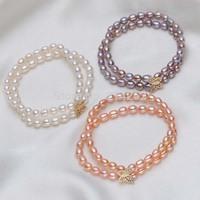 free shipping 5-6mm drop 2ROW genuine freshwater pearl bracelet butterfly flower accessories 490/