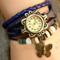 Free Shipping! 1PC Blue New Retro Style Women's Ladies Girls Clock Fashion Christmas Gift Bracelet Hours Quartz Wrist Watches