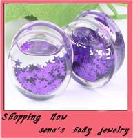 Trendy  liquid purple star ear plug body jewelry  free shipping mix 6~16mm 240pcs/lot acrylic flesh tunnel piericng