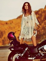 Summer Dress 2014 New Vintage Hippie Boho People Embroidery Floral Lace Crochet Mini Beach Party Dresses Tops Blouse