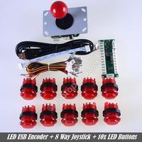 New LED Arcade DIY Parts Kit including Zero Delay LED USB Encoder + 8 Way Joystick + 10 x LED Illuminated push buttons For MAME