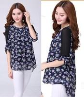 XL~5XL 2014 Women Autumn Fashion Large Size XXXL Irregular Floral Print Half Sleeve Pleated Back Chiffon Slim Blouses Shirt