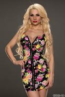 M L XL XXL Plus Size New  Women Sexy Bodycon Sleeveless Zipper Vintage Printed Casual Mini Dress, Sexy Clubwear Party Dress