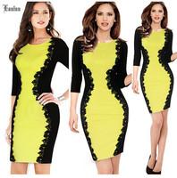 2014 Fashion Europe and America Stitching Lace Dress! Slim Elegant Sexy Women Dresses NM495