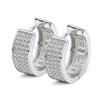 GNE0992 Genuine 925 Sterling Silver Earrings For Women Fashion Fine Jewelry Full CZ Hoop Earrings Free Shipping Christmas Gift