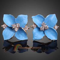R1B1 Luxury Fashion Blue Oil Drip Rhinestone Flower Ear Studs Earrings for Lady