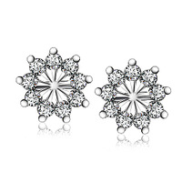 GNE0978 Free Shipping Fancy Snowflake Stud Earrings for Women Genuine 925 Sterling Silver Earrings with CZ for Christmas Sales