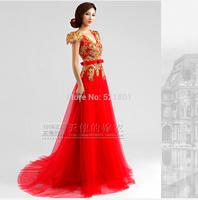 evening dresses 2014 Deep v-neck red diamond lace evening dress vestidos de festa vestido longo dress party evening elegant