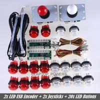 New Reyann 2x LED Arcade DIY Parts Kit Zero Delay LED USB Encoder + 2x Joystick + 20x LED Illuminated push buttons For USB MAME