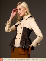 2014 female spring and autumn short design trench ,double breasted  fashion outerwear