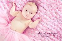 Pom-Pom Purple Pink Baby Girls Blanket Photo Prop Popcorn Pom Texture Photography Prop. 'Plum Mixed Up' Mini Rug