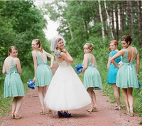 Freeshipping! BMD053 Mint Green Lace Backless Knee Length Sexy Bridesmaid Dresses Vestido De Festa