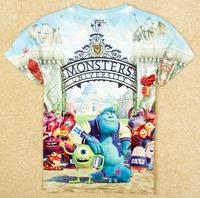 5pcs/lot New 2014 baby boys fashion monsters university cute handsome t-shirt children kids summer clothes C020