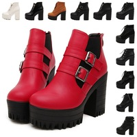 Women's Thick High Heels Platform Ankle Boots Shoes Autumn 2014 New Fashion Brand Cross-Tied Lace-Up Sapatos Femininos Red/Black