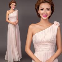 pink Elegant one shoulder empire flowers Bridesmaid Dress 2014 fashion chiffon long dresses plus size vestido de madrinha 1727 y