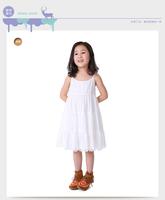 Hot fashion girls white braces dress retail/wholesale autumn child outwear #1413037 kidsdress children princess long dress