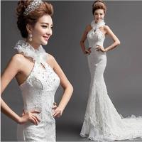 Fashionable New Sexy Backless Flower Halter-neck Lace wedding dress 2014 White Mermaid wedding dresses vestido de noiva W106