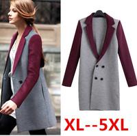 XL XXL 3XL 4XL 5xl plus size women coat 2014 new European style patchwork double breasted women long winter coat free shipping