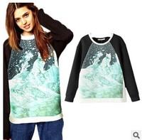 women autumn 2014 coco channel fashion casual polar bear positioning print fleece hoodies sweatshirt conjuntos feminos swag tops