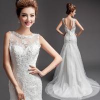 Fashionable New Sexy Backless Lace wedding dress 2014 White bandage dress Tailing wedding dresses robe de mariage W107