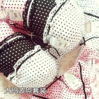 Free shopping Plus size mm dot chiffon ruffle underwear bra separate thin cup female big cup