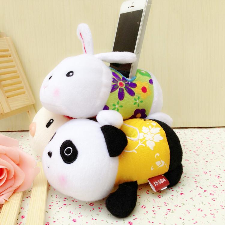 16CMAngel Bear plush toy rabbit pig panda mobile phone holder small doll company gifts Activities(China (Mainland))