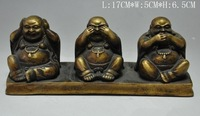 Collectibles Old Copper Tibetan Buddhism Three Maitreya Buddha Statue