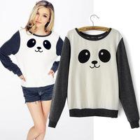2014 Autumn New European contrast color cotton fleece long-sleeved round neck sweatshirt casual cute panda printing moleton