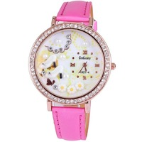 Free shipping 2014 new fashion women watches luxury brand pu leather gift high heels with charm rhinestone rose gold plated