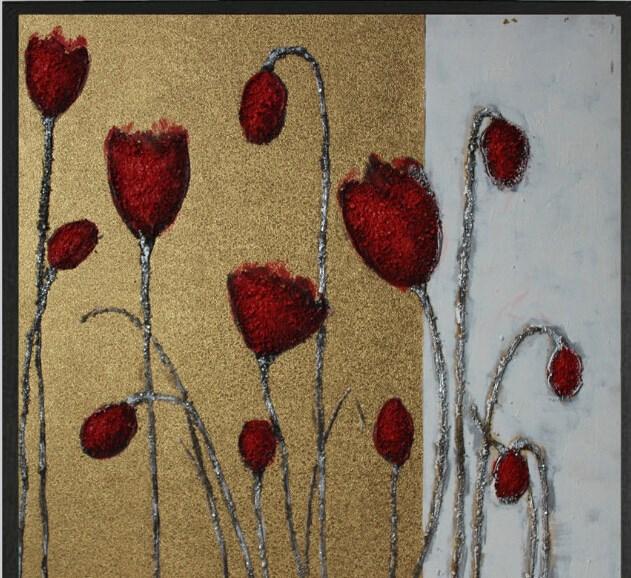 Decorativa pintura a óleo floral Poppy No quadro da lona arte da parede 1414(China (Mainland))