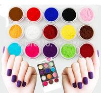 Free shipping Hot Pro Nail Art  Poudre de Flocage Velours pour Nail Art - 12 Couleurs Manicure DIY