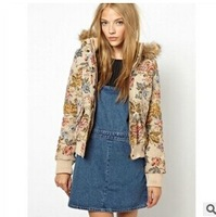 Free Shipping Retro Flowers Jacquard Women's Winter Padded/Parkas Hooded Fur Thick Cotton Liner Warm Jacket. Female Casual Coat