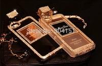 Cellphones Luxury Perfume Bottle Lanyard  Bling Diamond Case For iphone 5G 5s 4 4s samsung S4 S5 note 2/3 Handbag TPU Back Cover