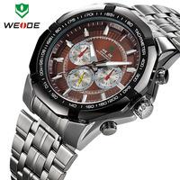 Dropship WEIDE brand hot sale fashion 3ATM casual sport original Japan quartz movement analog wrist watches men full steel watch