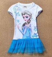2014 New 2-8yrs Girls' Frozen Dress kid's 2014 cartoon summer dress girl's tutu girl's princess dress girl's lovable dress D30