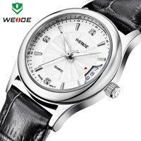 Fashion ladies watch brand WEIDE genuine leather straps watches calendar rose gold clock waterproof quartz analog free shipping