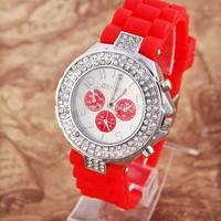 Women Rhinestone Watches Silicone Geneva women Dress Watch Rubber Wristwatches woman Montre Femme Quartz Casual watch Fashion