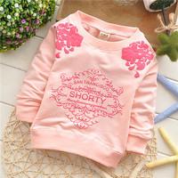 girls flower cotton baby children sweatshirts hoodies European style KT220R
