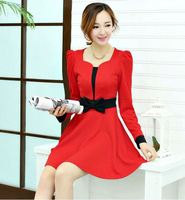 2014 autumn sweet bow long-sleeve slim  female dress + free shipping